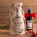 WOREK lniany na wino 200ml Z PODPISEM Zimowy Ptaszek