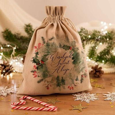 WOREK na prezenty świąteczne lniany Z IMIENIEM Wieniec Świąteczny 26x35cm