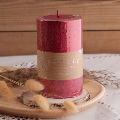 ŚWIECA świąteczna pieńkowa rustykalna 12x7cm CZERWONA