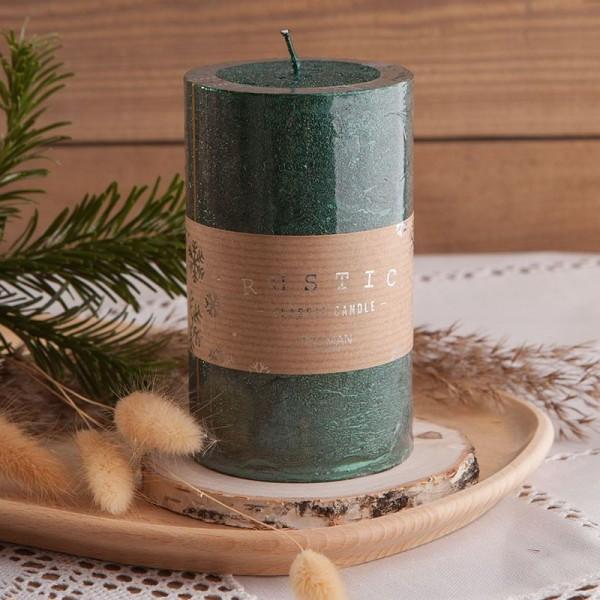ŚWIECA świąteczna pieńkowa rustykalna 12x7cm CIEMNOZIELONA