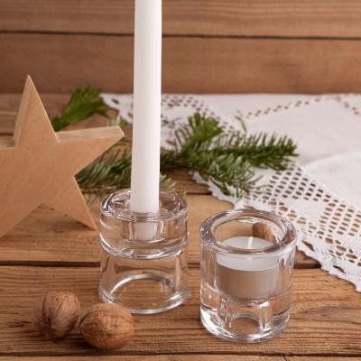 ŚWIECZNIK świąteczny 2w1 do świec długich i tealightów