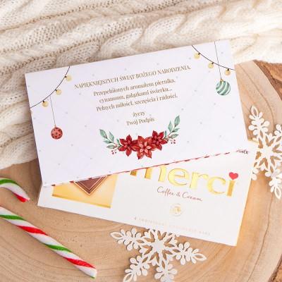 CZEKOLADA świąteczna Merci Z PODPISEM Słodkie Święta 100g