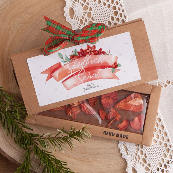 CZEKOLADA świąteczna na prezent Z PODPISEM Słodkie Święta