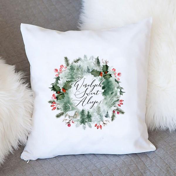 PODUSZKA na prezent świąteczny Z IMIENIEM Wieniec Świąteczny