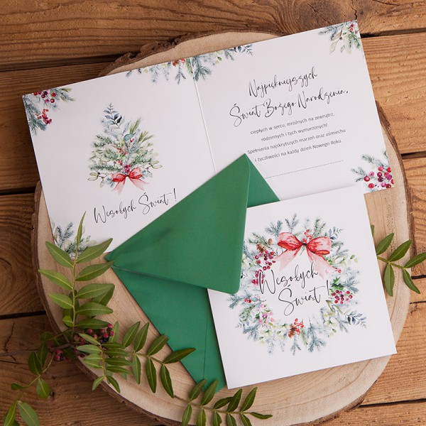 KARTKA świąteczna Wesołych Świąt (+ciemnozielona koperta)