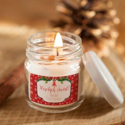 ŚWIECA świąteczna sojowa Z PODPISEM Czerwone Święta 100% Handmade