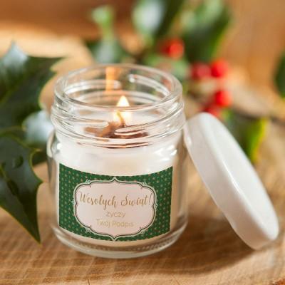 ŚWIECA świąteczna sojowa Z PODPISEM Zielone Święta 100% Handmade