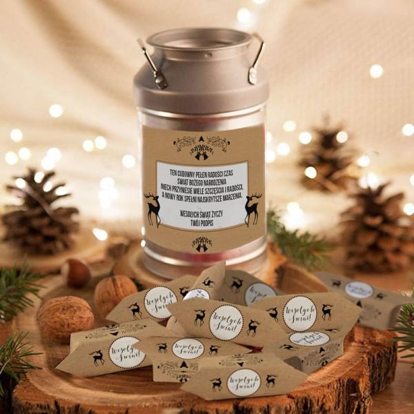 PREZENT świąteczny Kanka z krówkami Z NAZWĄ Zimowy Wieczór