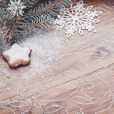 BIEŻNIK świąteczny organza Srebrzysty Ażur 48cmx9m