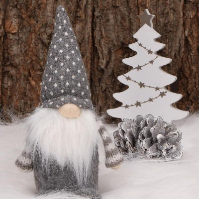 SKRZAT krasnal z brodą dekoracja świąteczna Szary 18cm