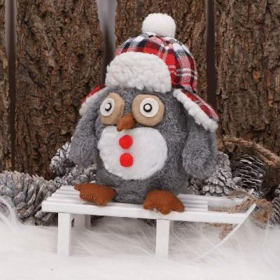 SOWA dekoracja świąteczna w czapeczce Szara 17cm