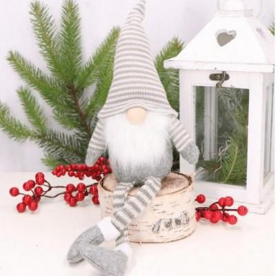 SKRZAT krasnal świąteczny szary w paski dekoracja 40cm