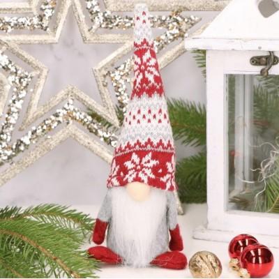 SKRZAT krasnal świąteczny w czapce ze wzorem Dekoracja 25cm