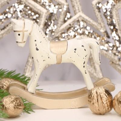 KONIK na biegunach dekoracja świąteczna kremowy 11x13cm
