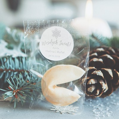 CIASTECZKA świąteczne z wróżbą Snowland PERSONALIZOWANE 10szt