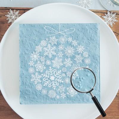 SERWETKI świąteczne tłoczone Bombka ze śnieżynek 33x33cm 20szt OSTATNIA PACZKA