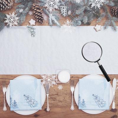 BIEŻNIK świąteczny papierowy tłoczony Śnieżynki 0,33x4,8m SREBRNY