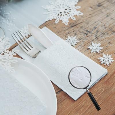 KIESZONKI na sztućce świąteczne tłoczone Śnieżynki 16szt SREBRNE