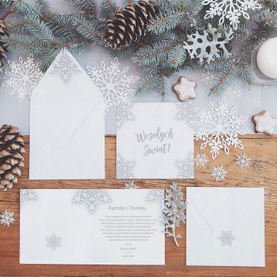 KARTKA świąteczna personalizowana Snowland (+koperta z wnętrzem+naklejka)