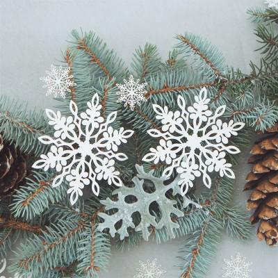 DEKORACJE papierowe Śnieżynki 11cm 10szt