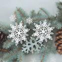DEKORACJA świąteczna papierowe Śnieżynki 11cm 10szt