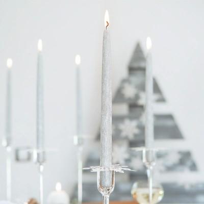 ŚWIECE świąteczne proste Elegancki Połysk LUX 28cm 10szt SREBRNE