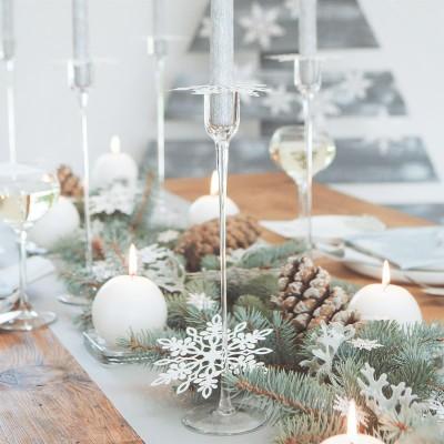 ŚWIECZNIK świąteczny szklany na prostą świecę Soft 30cm