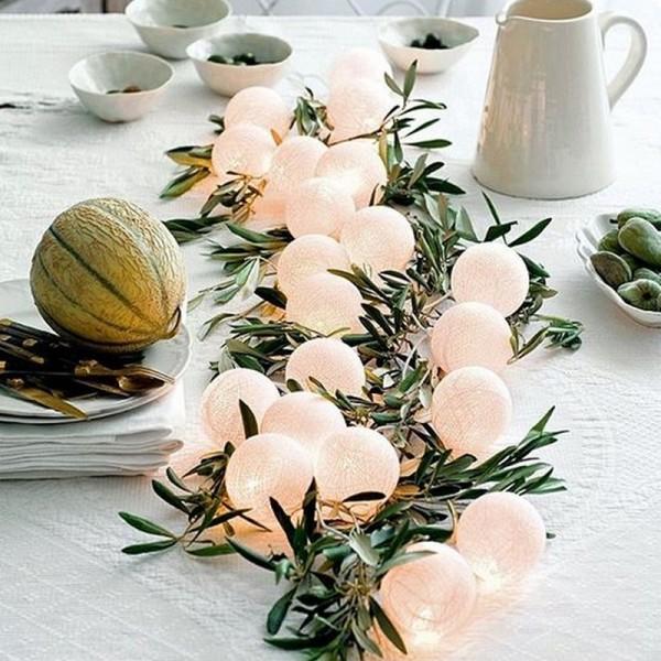 LAMPKI dekoracyjne Cotton Ball Lights 10 KUL KREMOWE