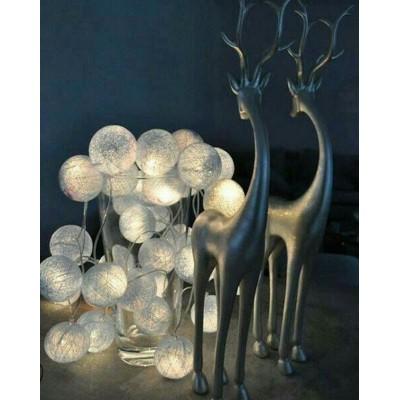 LAMPKI dekoracyjne Cotton Ball Lights 10 KUL SZARE