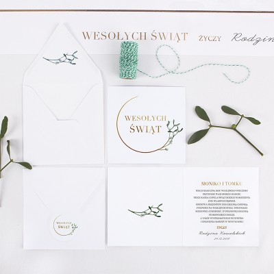 KARTKA świąteczna personalizowana Jemioła (+koperta z wnętrzem+naklejka)