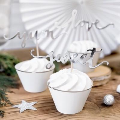 FOREMKI papilotki na muffinki białe ze srebrnym paskiem 6szt