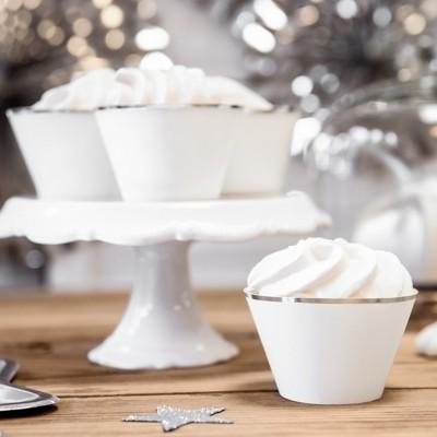 FOREMKI papilotki na muffinki szare ze srebrnym paskiem 6szt