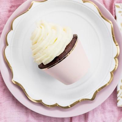 FOREMKI papilotki na muffinki jasnoróżowe ze złotym paskiem 6szt