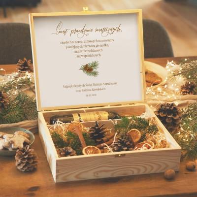 SKRZYNIA prezent świąteczny na alkohol i drobiazgi PERSONALIZOWANA Woodland
