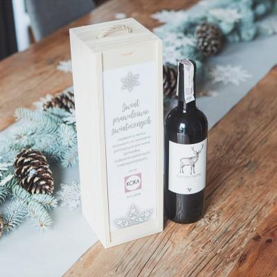 SKRZYNIA na alkohol drewniana na prezent firmowy Snowland Z LOGO