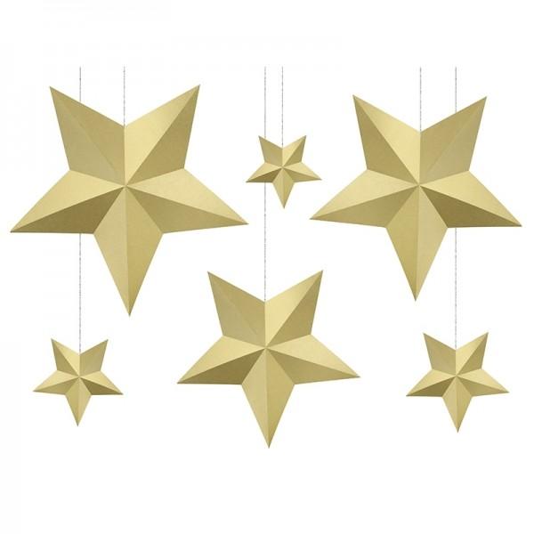 DEKORACJA Papierowe Gwiazdy 6szt ZŁOTE