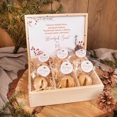 SKRZYNIA na prezent świąteczny firmowy Z ciasteczkami Z LOGO