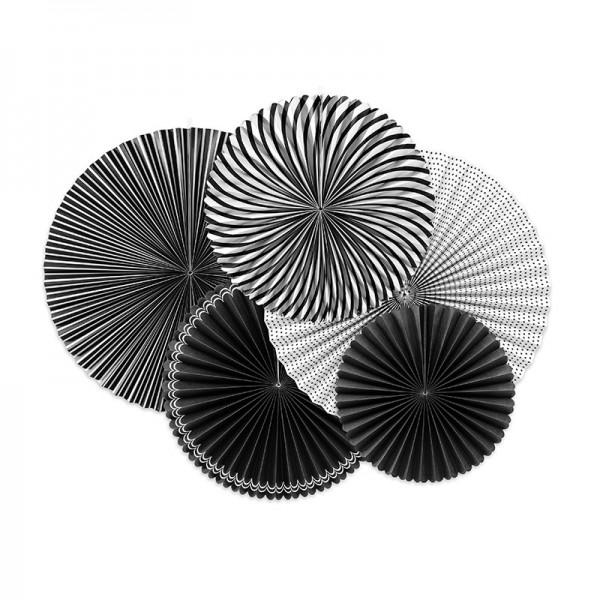 ROZETY dekoracyjne bibułowe Black&White 5szt