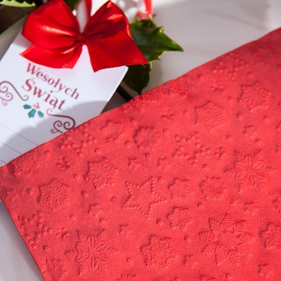 SERWETKI papierowe tłoczone Śnieżynki 33x33cm 20szt CZERWONE