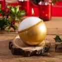 ŚWIECA świąteczna kula brokacona Exclusive Złota 8cm PIĘKNY EFEKT