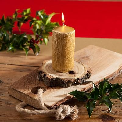 ŚWIECA świąteczna pieńkowa Elegancki Połysk LUX 11x5cm ZŁOTA