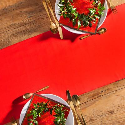 SATYNA bieżnik świąteczny rolka 36cmx9m CZERWONA