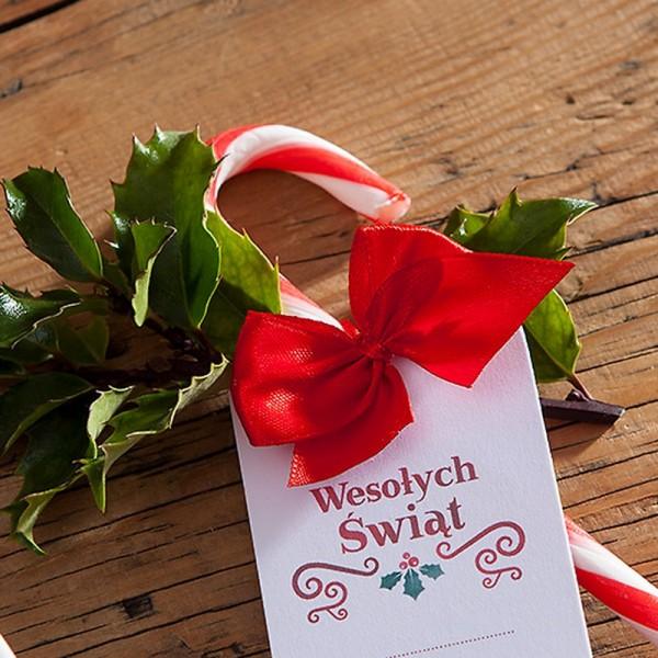 KOKARDKI świąteczne atłasowe gotowe zawiązane 10szt CZERWONE