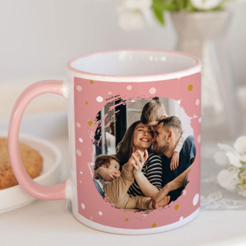 Kubek ceramiczny ze zdjęciem różowy