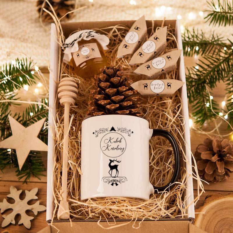 Kosz prezentowy w pudełku z tektury Zimowy WIeczór